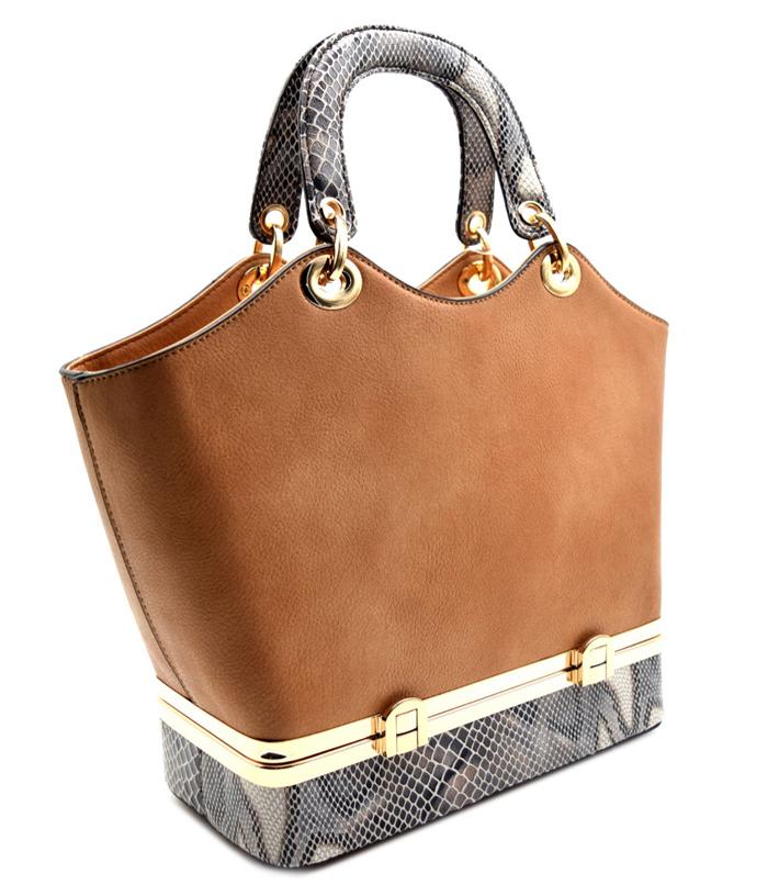 Alina Snakeskin Handbag Brown2