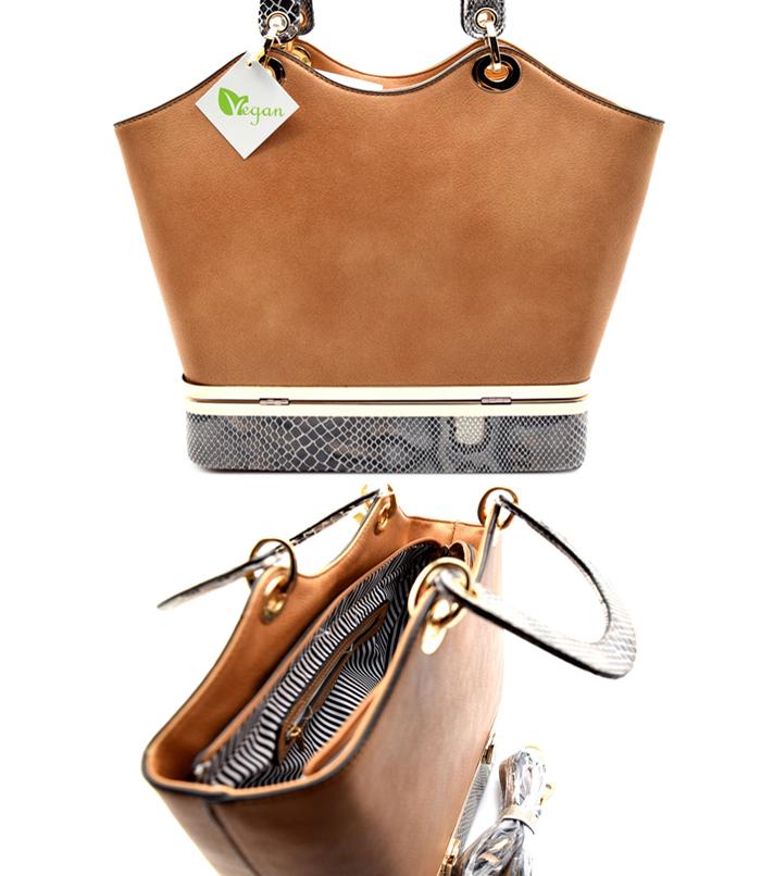 Alina Snakeskin Handbag Brown3