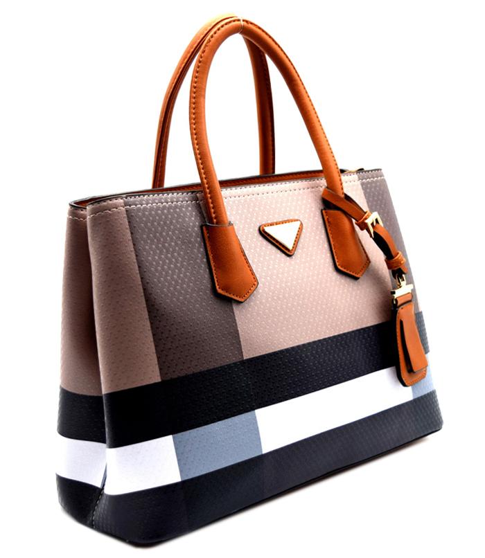 Amelia Plaid Handbag Tan Multi2