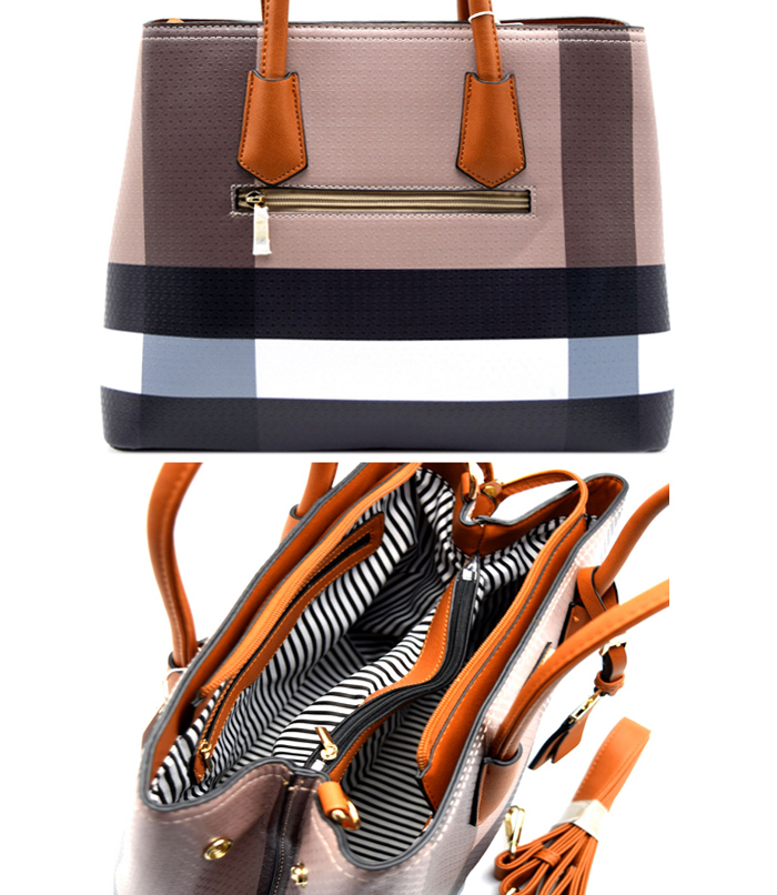 Amelia Plaid Handbag Tan Multi3