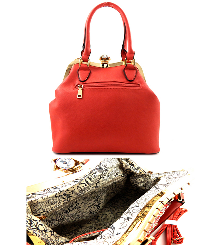 Ginger Studded Rhinestone Bag Coral2