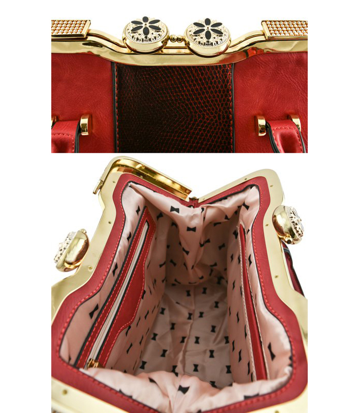 Jacqui Snakeskin Bag Red3