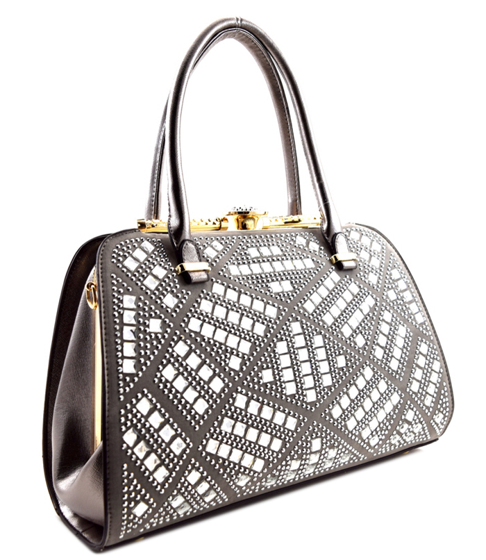 Nubia Duchess Rhinestone Bag Pewter2