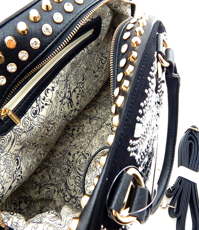Nubia Studded Rhinestone Bag Black3